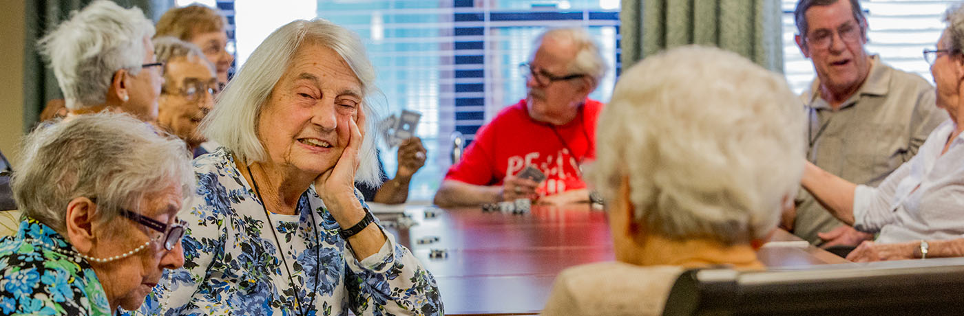 O'Connor Woods residents play a card game