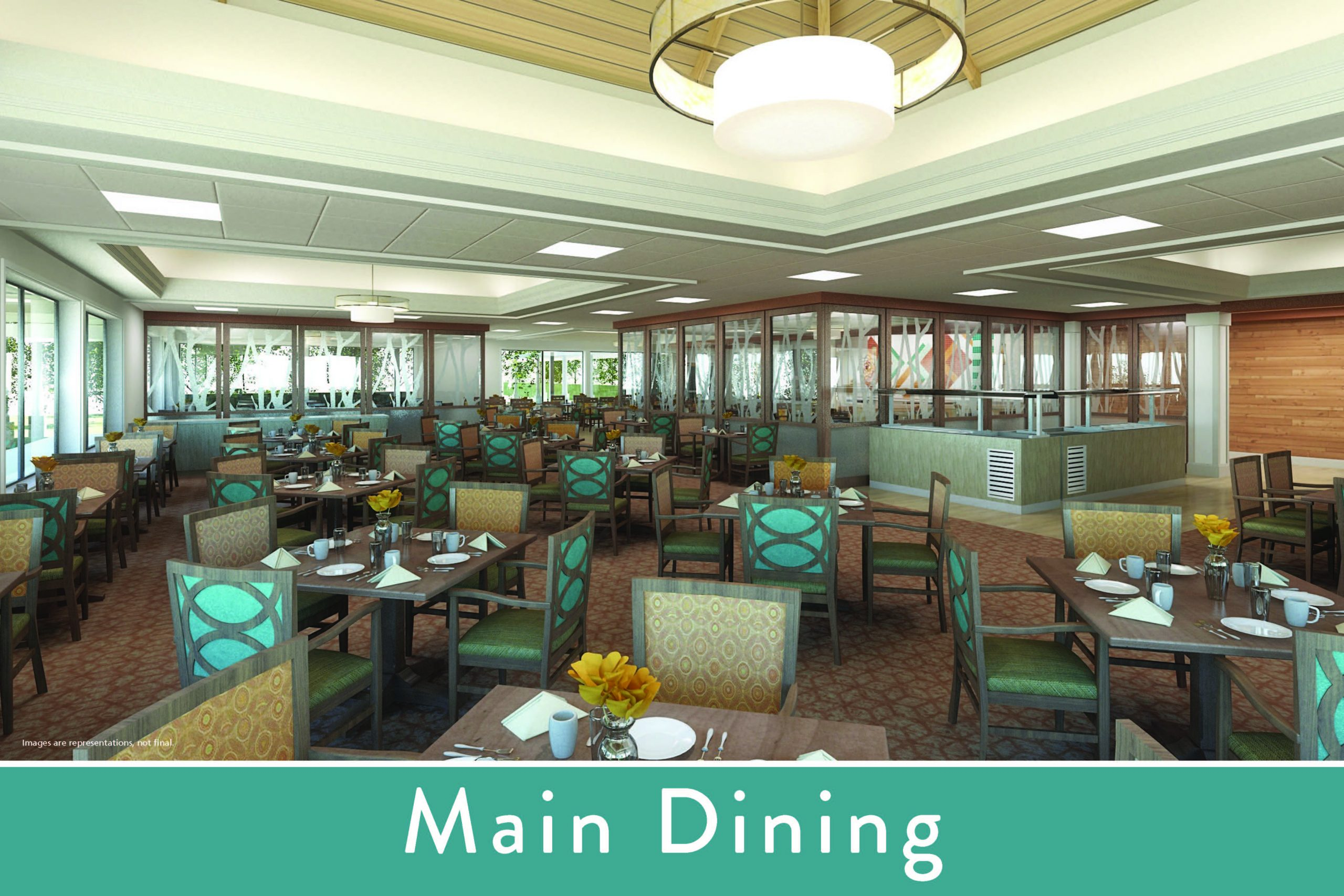 Beautifully refreshed, seated restaurant-style dining with wrap-around windows overlooking the rose garden and oak tree walking path